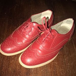 Red Lace-Up Oxfords